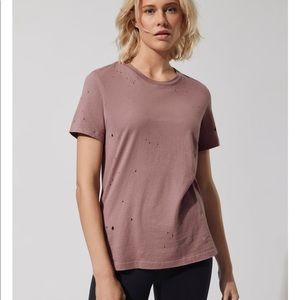 alo yoga natural ripped tee size S NWT